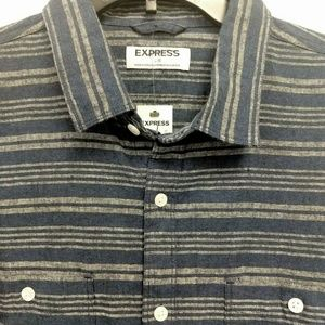 Express Shirts - NWT  Large Blue Gray Linen Blend Shirt     BP75